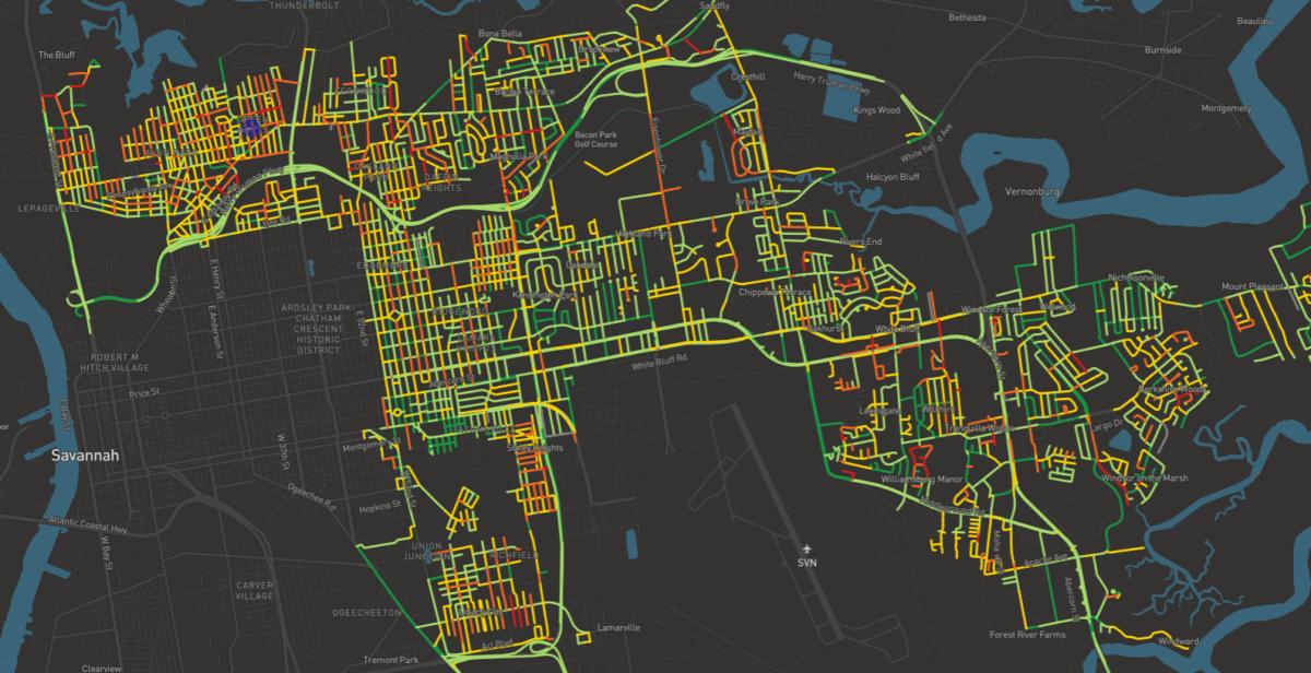 RoadWay map of City of Savannah