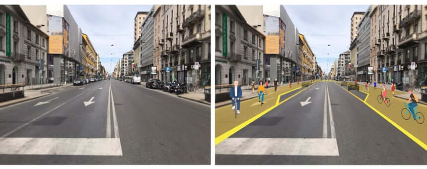 Schematic of new bike lanes in Milan